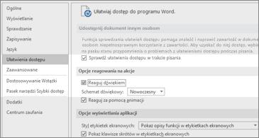 Opcje Ułatwienia dostępu z wyróżnioną pozycją Schemat dźwiękowy