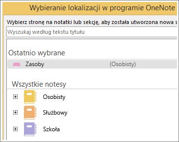 Zrzut ekranu: okno programu OneNote, w którym można wybrać stronę do sporządzania notatek programu Skype.