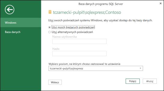 Poświadczenia logowania połączenia zapytania SQL Server Power