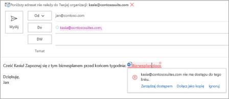 Przedstawia przyjazne nazwy linków dla załączonych dokumentów