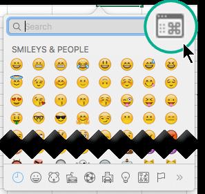 Okno dialogowe symbol można przełączać do większego widoku, w którym są wyświetlane kilka typów znaków, a nie tylko emoji