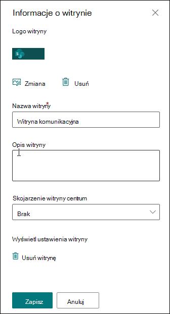 Panel informacji o witrynie programu SharePoint