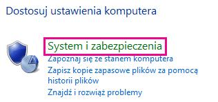Łącze System i zabezpieczenia w Panelu sterowania systemu Windows 8