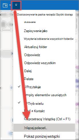 Otwarte menu Dostosuj pasek narzędzi Szybki dostęp ze strzałką wskazującą opcję więcej poleceń.