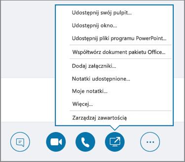 Zrzut ekranu przedstawiający otwarte menu Udostępnij zawartość.