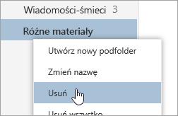 Zrzut ekranu przedstawiający menu kontekstowe Foldery z wybranym poleceniem Usuń