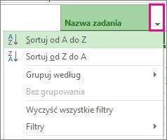 Obraz menu Nazwa zadania z wybraną opcją Sortuj od A do Z