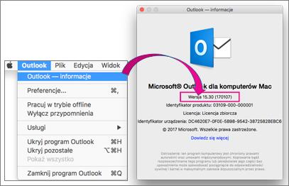 Wybierz pozycję Outlook Outlook znajdowanie wersji