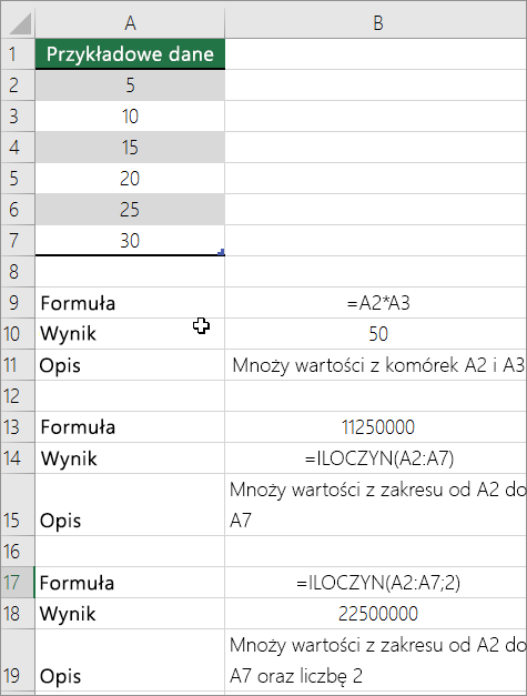 Multiply numbers using the PRODUCT function