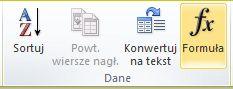 Grupa Dane w obszarze Narzędzia tabel na karcie Układ na wstążce programu Word 2010