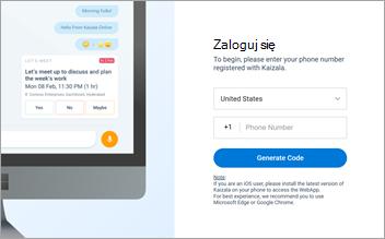 Zrzut ekranu przedstawiający stronę logowania w sieci aplikacji kaizala