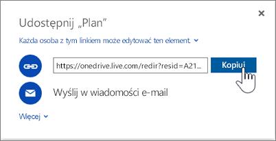Zrzut ekranu opcji Uzyskaj link w oknie dialogowym Udostępnianie w usłudze OneDrive