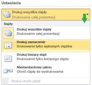 Opcje wyboru slajdów do wydrukowania