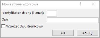 Okno dialogowe nowej strony wzorcowej