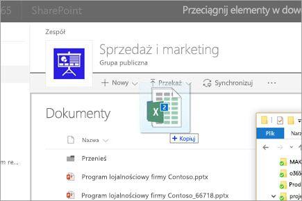 Przeciąganie pliku do biblioteki dokumentów programu SharePoint