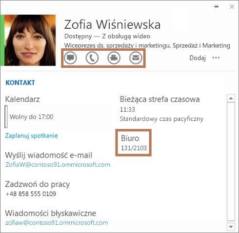 Karta kontaktu programu Skype dla firm