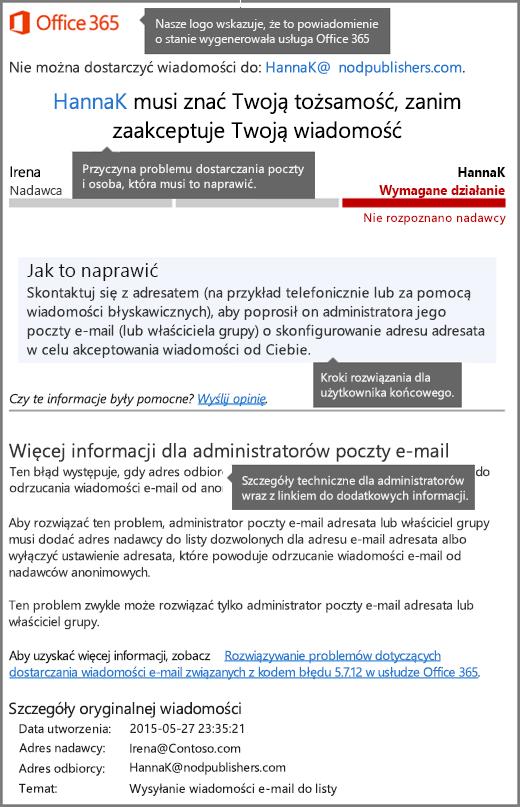 Najnowszy format powiadomienia o stanie dostarczenia (DSN) w usłudze Office 365