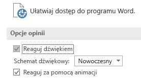 Częściowy widok ustawień Ułatwienia dostępu programu Word