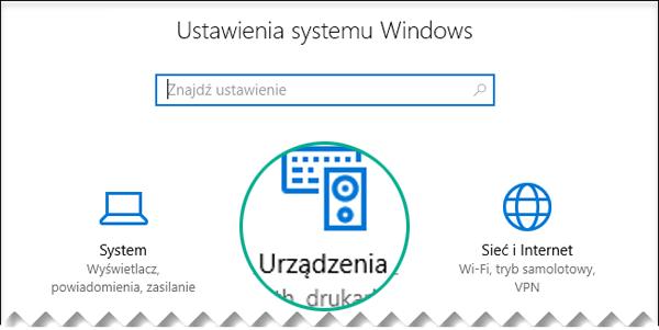 Wybierz urządzenia w oknie dialogowym Ustawienia systemu Windows