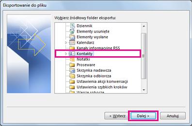 Kreator eksportu programu Outlook —wybieranie kontaktów
