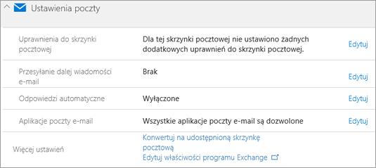 Zrzut ekranu: Ustawienia poczty usługi Office 365