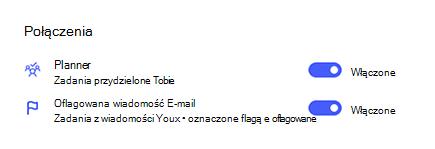 Zrzut ekranu przedstawiający połączenia w ustawieniach z usługą Planner i oflagowaną pocztą E-mail z włączonym łączem