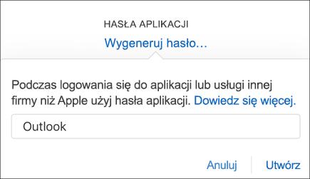 Wprowadzanie nazwy hasła aplikacji