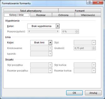 Opcje okna dialogowego Formatowanie formantu