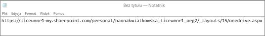 Wklej adres URL do programu takiego jak Notatnik.