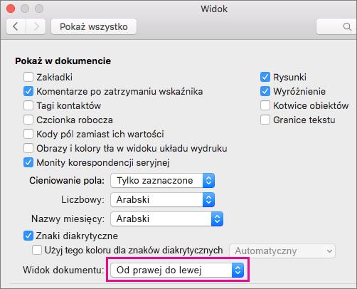 Opcje wyświetlania dokumentu w oknie dialogowym Widok