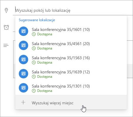 Zrzut ekranu przedstawiający przycisk Przeglądaj więcej miejsc