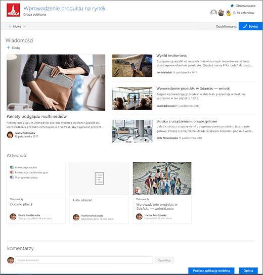 Strona główna witryny programu SharePoint Teams