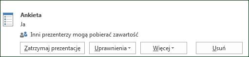 Zrzut ekranu przedstawiający usuwanie strony ankiety