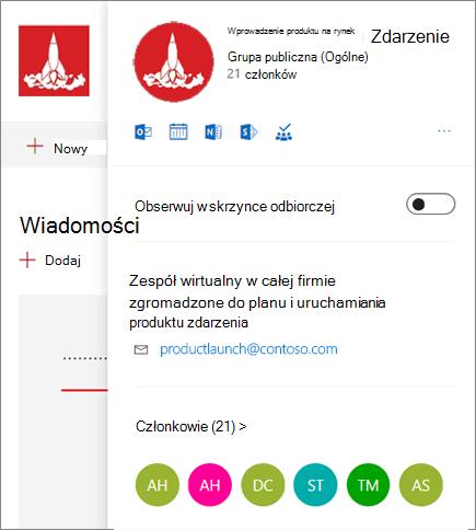 Pełna karta grupowa pakietu Office 365