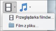 Zrzut ekranu przedstawiono przeglądarka filmów i film z pliku opcje dostępne z kontrolki listy rozwijanej wideo. Wybierz odpowiednią opcję, aby wstawić film do prezentacji programu PowerPoint.
