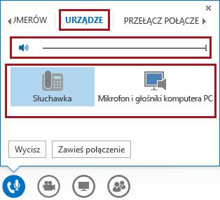 Zrzut ekranu: menu Dźwięk w oknie spotkania