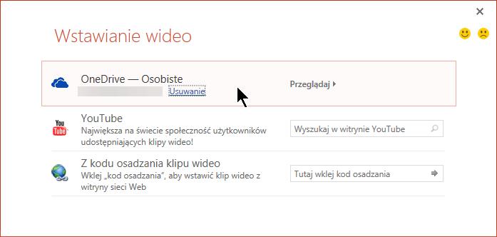 Okno dialogowe Wstawianie wideo zawiera opcję otworzenia i osadzenia klipu wideo z usługi OneDrive.