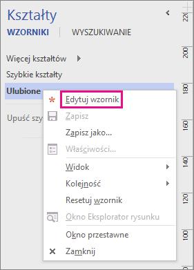 Kliknij prawym przyciskiem myszy nazwę wzornika, a następnie kliknij pozycję Edytuj wzornik, aby przełączyć do trybu edycji wzornika.