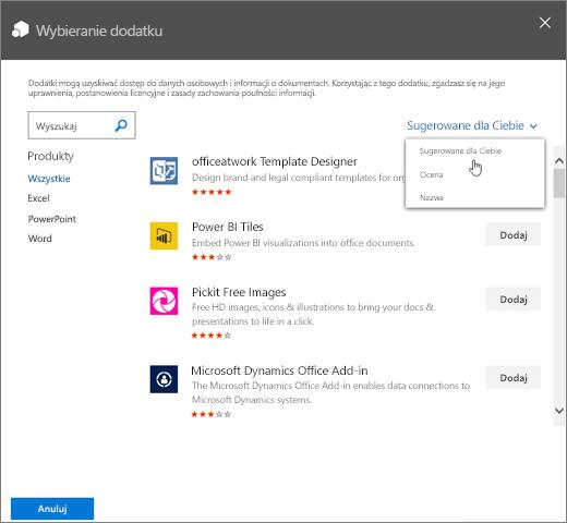 Zrzut ekranu przedstawiający okno dialogowe Wybieranie dodatku w Sklepie Office. Rozwijana kontrolka do przeglądania dostępnych dodatków z pokazanymi kategoriami Sugerowane dla Ciebie, Klasyfikacja i Nazwa.