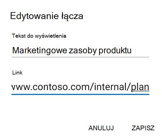 Okno Outlook do edycji linku w systemie Android.