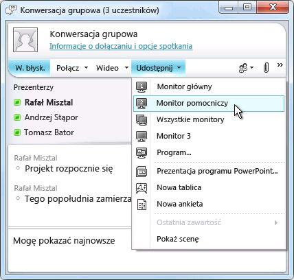 Okno programu Microsoft Lync z opcjami udostępniania ekranu