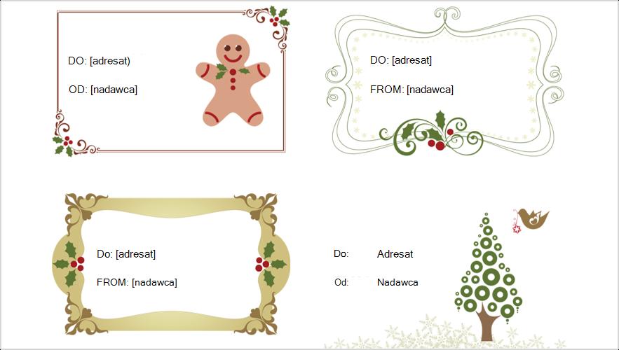 Obraz przedstawiający cztery znaczniki prezentów świątecznych