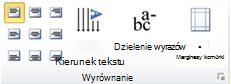 Grupa Wyrównanie dotycząca tabel w programie Publisher 2010