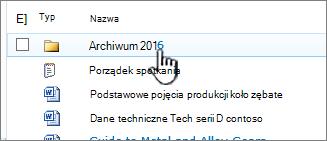 Biblioteka dokumentów programu SharePoint 2010 z wyróżnioną pozycją folder
