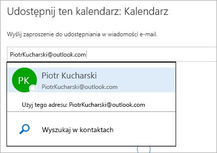 Zrzut ekranu przedstawiający okno dialogowe Udostępnij kalendarz w usłudze Outlook.com.