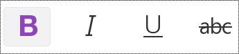 Przycisk tekstu pogrubionego na pasku menu telefonu iPhone.