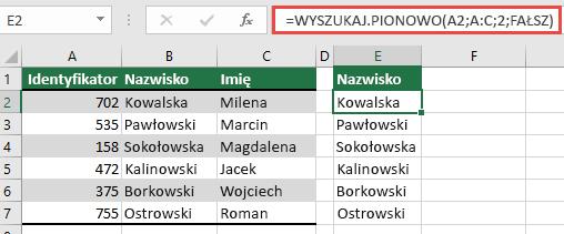 Używanie tradycyjnej funkcji Wyszukaj. pionowo z pojedynczym odwołaniem szukana_wartość: = Wyszukaj. pionowo (a2; A:C; 32; FAŁSZ). Ta formuła nie zwróci tablicy dynamicznej, ale może być używana z tabelami programu Excel.