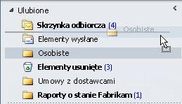 Przeciąganie folderu na nowe miejsce na liście Ulubione