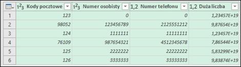Dodatek Power Query — danych po przekonwertowaniu tekstu