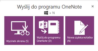 Narzędzie Wyślij do programu OneNote